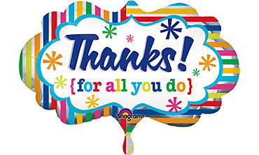 Foil Rainbow Striped Thank You Balloon 32in