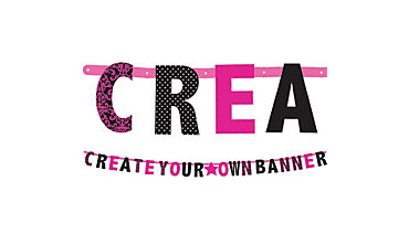 Black & Pink Letter Banner Kit 84pc