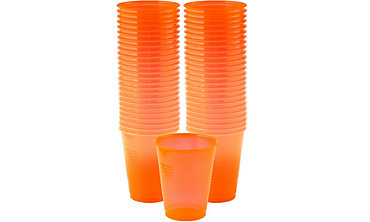 Black Light Neon Orange Plastic Cups 50ct