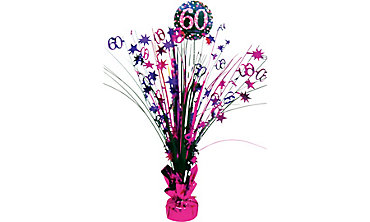 Prismatic 60th Birthday Spray Centerpiece - Pink Sparkling Celebration
