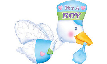 Foil It's a Boy Stork Baby Shower Balloon 32in