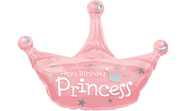 Foil Princess Crown Birthday Balloon 34in