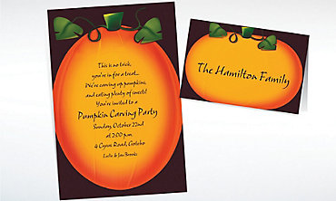 Custom Pumpkin Glow Halloween Invitations & Thank You Notes