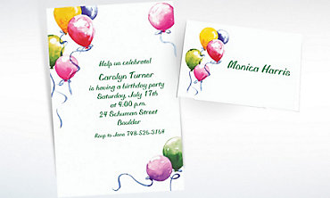 Custom Balloons Invitations & Thank You Notes