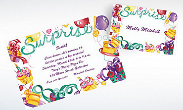 Custom Surprise with Gifts and Cakes Invitations & Thank You Notes