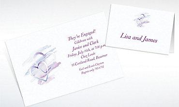 Custom Interlocked Hearts Bridal Shower Invitations & Thank You Notes