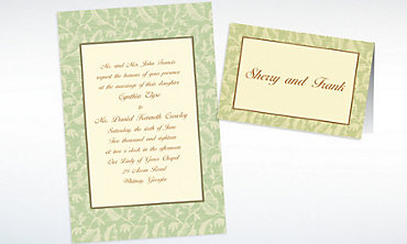 Custom Sage Damask Ecru Invitations & Thank You Notes