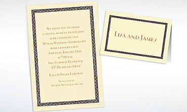 Custom Black Tapestry Border Ecru Invitations & Thank You Notes