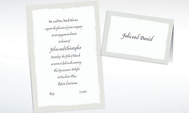 Custom Gray Deckle Edge Invitations & Thank You Notes