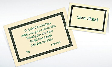 Custom Green Moroccan Border Ecru Invitations & Thank You Notes