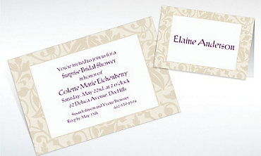 Custom Taupe Damask Border Invitations & Thank You Notes