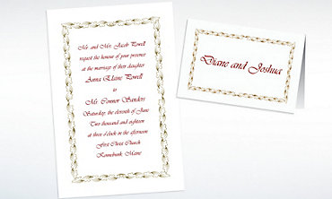 Custom Gold Leaf Scroll Invitations & Thank You Notes