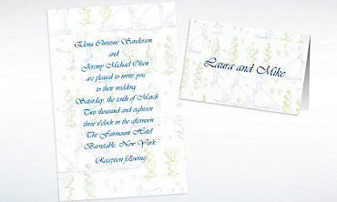 Custom Wedding Procession Toile Wedding Invitations & Thank You Notes
