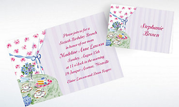 Custom Birthday Tea Invitations & Thank You Notes