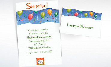 Custom Surprise with Balloons Invitations & Thank You Notes