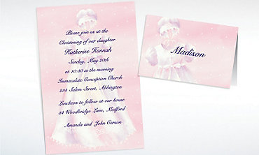Custom White Gown on Pink Invitations & Thank You Notes