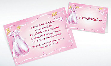 Custom Christening Gown on Pink Invitations & Thank You Notes