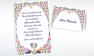 Custom Chalice with Ribbon and Charm Invitations & Thank You Notes