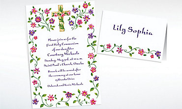 Custom Cross with Spring Flowers Invitations & Thank You Notes