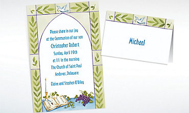 Custom Communion Book with Rosary Invitations & Thank You Notes