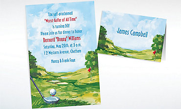 Custom Golf Course Landscape Invitations & Thank You Notes