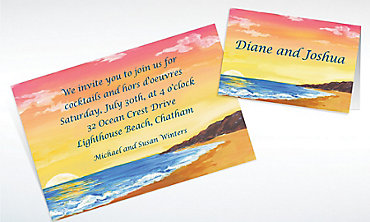 Custom Sunset on the Beach Invitations & Thank You Notes