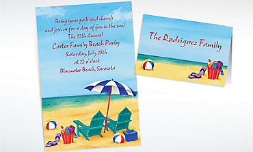 Custom Day at the Beach Summer Invitations & Thank You Notes