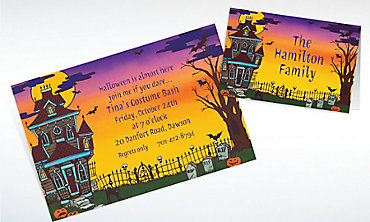 Custom Haunted House Halloween Invitations & Thank You Notes