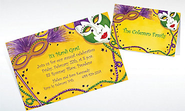Custom Mardi Gras Masks Invitations & Thank You Notes