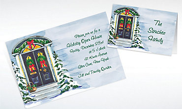 Custom Christmas Front Door Invitations & Thank You Notes