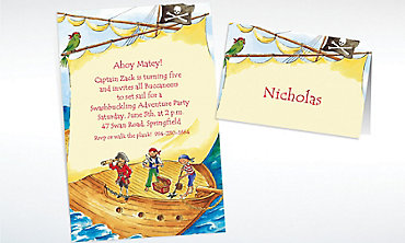 Custom Pirate Ship with Flag Invitations & Thank You Notes
