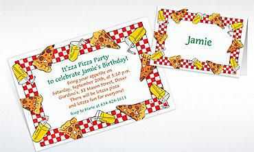 Custom Pizza Party Border Invitations & Thank You Notes