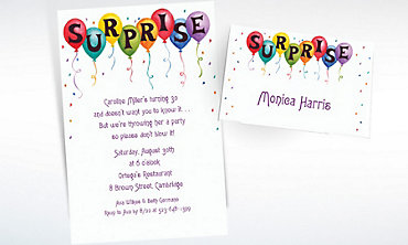 Custom Surprise in Balloons Invitations & Thank You Notes