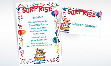 Custom Surprise String Banner Invitations & Thank You Notes