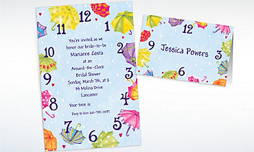 Custom Around-the-Clock Shower Bridal Shower Invitations & Thank You Notes