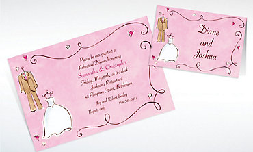 Custom Bride & Groom with Swirls Wedding Invitations & Thank You Notes