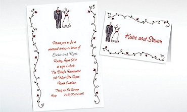 Custom Little Outfits & Vines Wedding Invitations & Thank You Notes