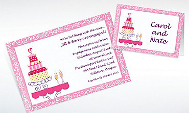 Custom Bridal Shower Cake & Champagne Bridal Shower Invitations & Thank You Notes