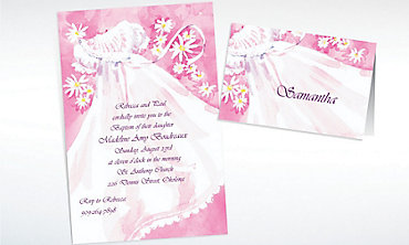 Custom Christening Gown & Flowers Invitations & Thank You Notes