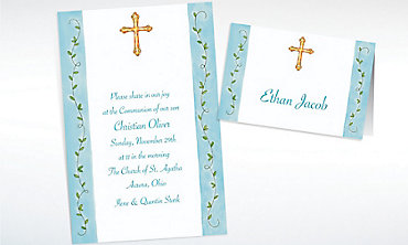 Custom Filigree Cross with Vines Invitations & Thank You Notes