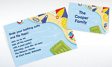 Custom Summer Pool Party Invitations & Thank You Notes