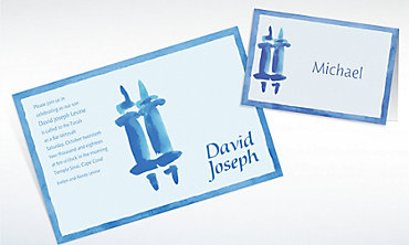 Custom Torah with Border Masculine Invitations & Thank You Notes