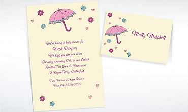 Custom Umbrella with Hearts & Daisies Baby Shower Invitations & Thank You Notes