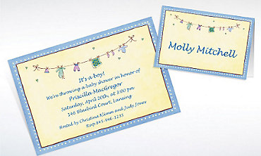 Custom Boy Laundry Baby Shower Invitations & Thank You Notes