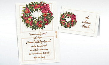 Custom Front Door with Wreath Christmas Invitations & Thank You Notes