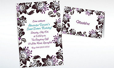 Custom Damask Blossoms Invitations & Thank You Notes