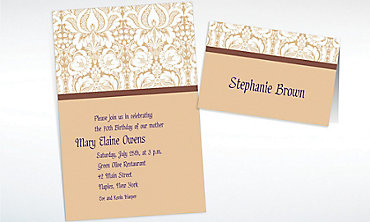 Custom Beige Damask Invitations & Thank You Notes