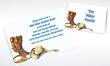 Custom Cowboy Boots, Hat & Lasso Western Invitations & Thank You Notes