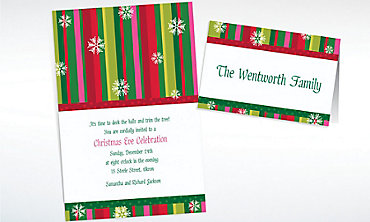 Custom Cool Holiday Stripe Invitations & Thank You Notes
