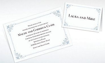 Custom Flourish Corners Silver Invitations & Thank You Notes